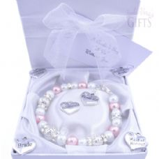 Custom Made Flower Girl Wedding Bracelet - Choice of Charms & Colour